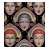 Magazine Illustration of Female Masks by WT Benda