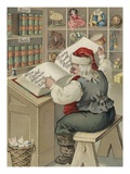 Christmas Postcard with Santa Checking Book of Names