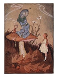 Illustration of Alice and the Caterpillar by Milo Winter