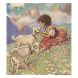 Illustration of Heidi and Her Goats by Jessie Willcox Smith