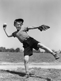 1930s Boy Pitching Throwing Baseball
