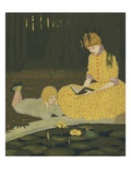 Illustration of Mother Reading to Son