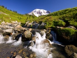 Waterfall and Mt Rainier