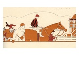 Illustration of Racehorse Owners Seeing off Their Horse and Jockey for a Race by L Fellows