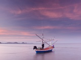Fishing Boat at Sunset in Gulf of Thailand