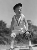 1930s Boy Wearing Baseball Hat and Glove Bent Over With Hands On Knees Yelling