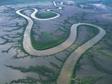Meandering river in the Kimberley Region of Western Australia  aerial view