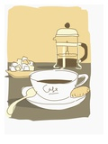coffee pot with cup and sugar cubes