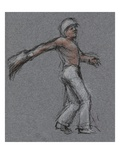 Illustration of a Jai Alai Player in Motion by Alexandra Day