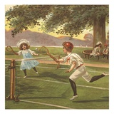Illustration of Children Playing Lawn Tennis