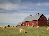 Hay Bales and Red Barn