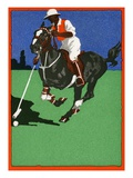 Color Lithograph of Polo Player on Horse