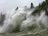 Storm Waves on Lake Superior Crashing on Minnesota Shoreline