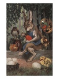 Postcard of Easter Rabbit Decorating Eggs
