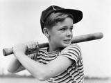 1930s Boy At Bat Wearing A Horizonal Striped Tee Shirt and Baseball Cap