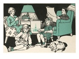 Illustration of a Family Relaxing at Home by Marguerite Davis