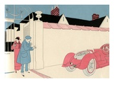 Illustration of Wealthy Couple About to get into Their Roadster by L Fellows