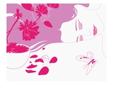 Woman Laying Next to Flowers and Butterfly