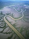 Meandering river in the Kimberley Region of Western Australia  aerial view
