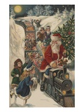 Christmas Postcard with Santa Riding a Train with Toys