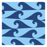 Blue Waves on Blue Pattern