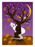 Ghost Behind Tree with Jack-O-Lanterns