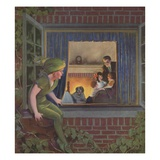 Illustration of Peter Pan Watching Happy Family by Roy Best