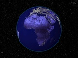 City Lights in Dark View of African Continent