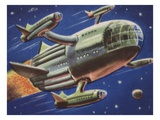 Biekens Pictorial Sticker with a Flying Space Ship