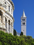 Roman Amphitheater and Church Bell Tower in Pula