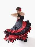 Salsa dancer twirling her skirts