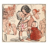 Illustration of Girls and Kewpie Dolls Hugging by Rose O'Neill