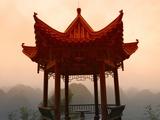 Pavilion Overlooking Karst Hills in Mist
