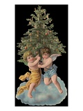 Die-Cut Scrap with Cherubs Holding Christmas Tree
