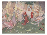 Illustration of Santa with Fairies by E Boyd Smith