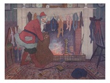 Illustration of Santa Filling Christmas Stockings by E Boyd Smith