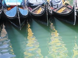 Gondolas Moored on Canal in Venice