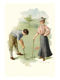 Illustration of a Couple Playing Golf by Mabel Humphrey