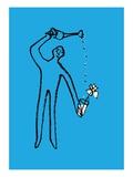 Figure watering a flower