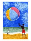Two People Playing with a Beach Ball at the Beach