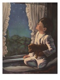 Illustration of Boy Looking at Night Sky