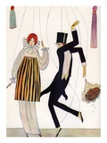 Illustration of Fashionable Couple as Marionettes