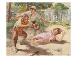 Illustration of Children Playing Baseball