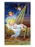 Loving Christmas Wishes with Christ Child in Manger