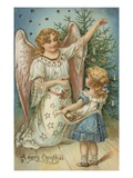 A Merry Christmas with Angel and Little Girl