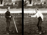 1890s 1900s Two Images Of Boy In Knickers Holding Baseball Bat And Pitching Ball