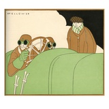 Illustration of Race Car Drivers in a Racecar with Goggles On by L Fellows