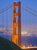Tower of Golden Gate Bridge and San Francisco at Dusk