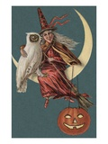 Halloween Postcard with Witch and Owl Sitting in Crescent Moon