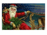 Christmas Greetings with Santa Claus Holding Reins